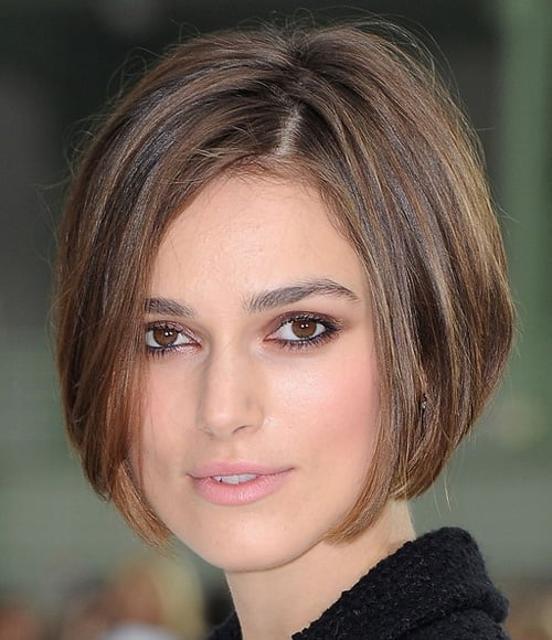 Keira Knightley sports a inverted bob haircut at Paris Fashion Week.