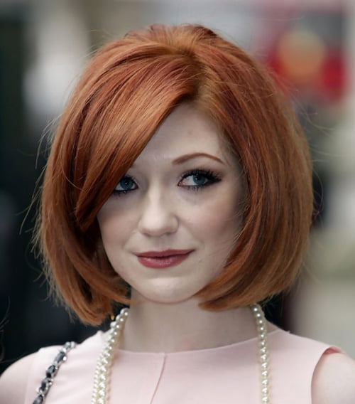 Nicola Roberts Classic short bob haircut with side bangs
