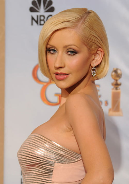 Short Straight Bob Haircut from Christina Aguilera