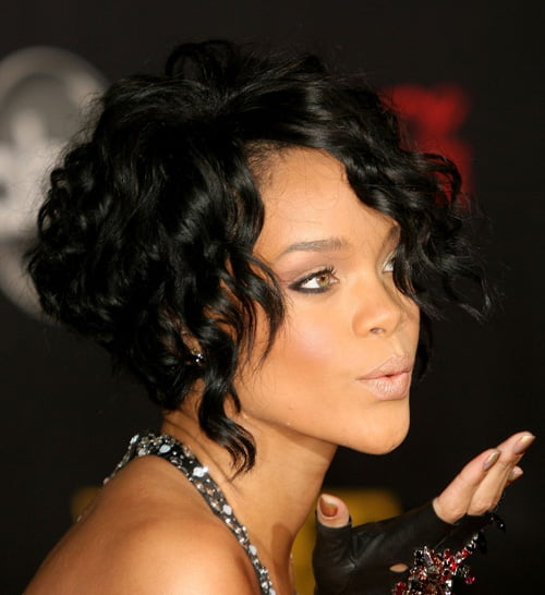 Rihanna Short Curly Bob Hairstyles