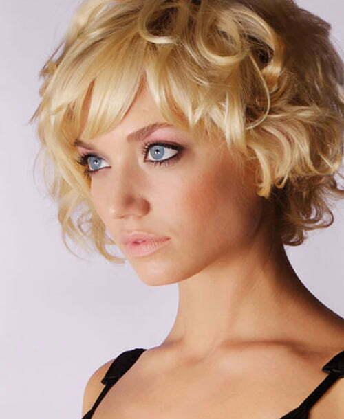 Golden blonde curly hairstyles women