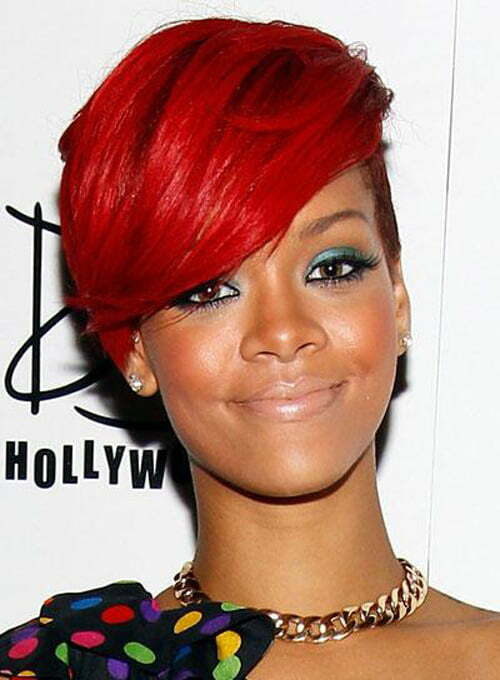 Rihanna Short Red hair color 2012