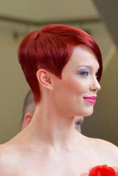 Short red pixie haircut