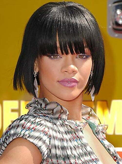 Rihanna short haircut with bangs 2012