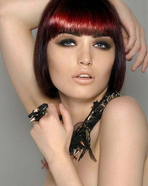 Trendy short bob haircut red hair