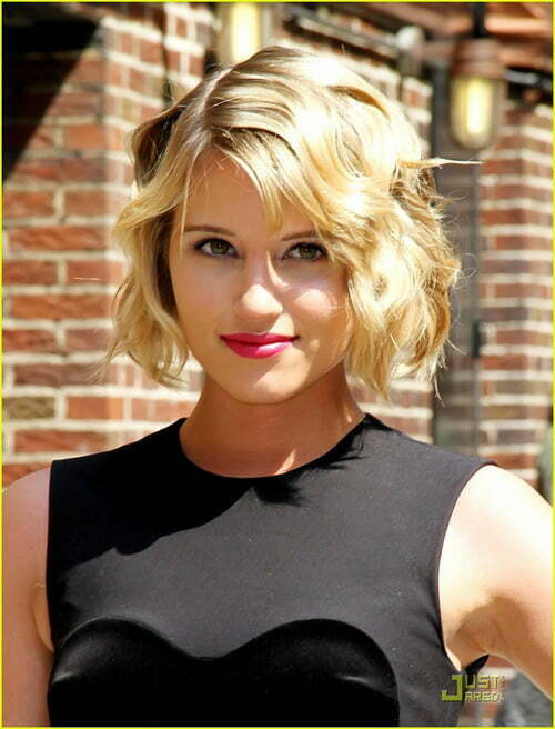 Dianna Agron short bob hairstyles with bangs 2012