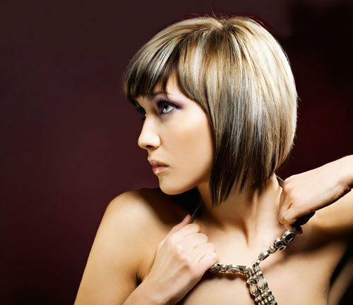 Short bob hairstyle and color
