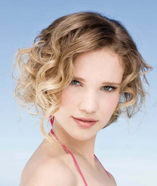 Curly angled bob haircut pictures
