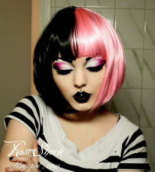 Emo girls with black and pink hair