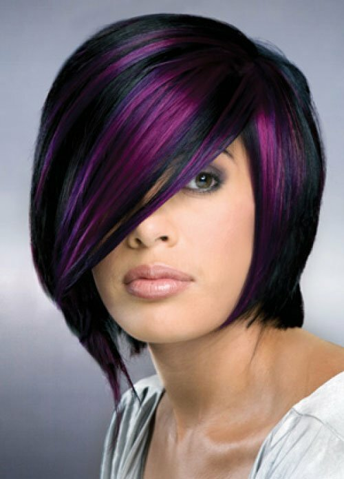 Two tone hair color black and purple