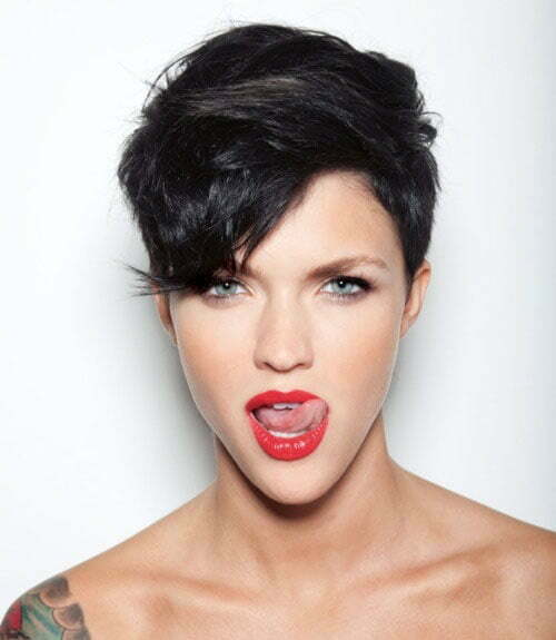 Ruby Rose black hair undercut