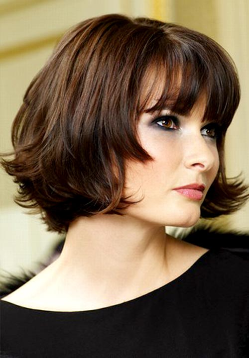 Bob hairstyle with long waves in the front.