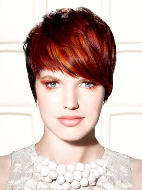 Red highlights with short hair
