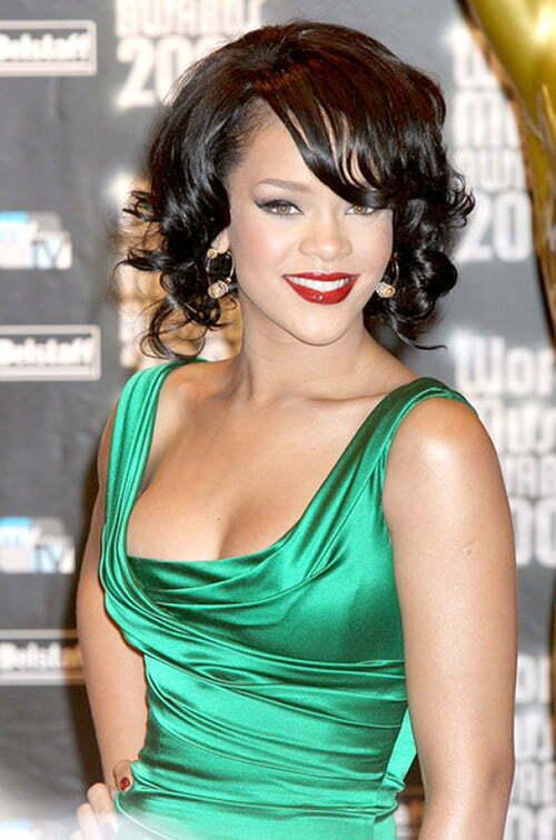 Rihanna Short Curly Hairstyles 2012