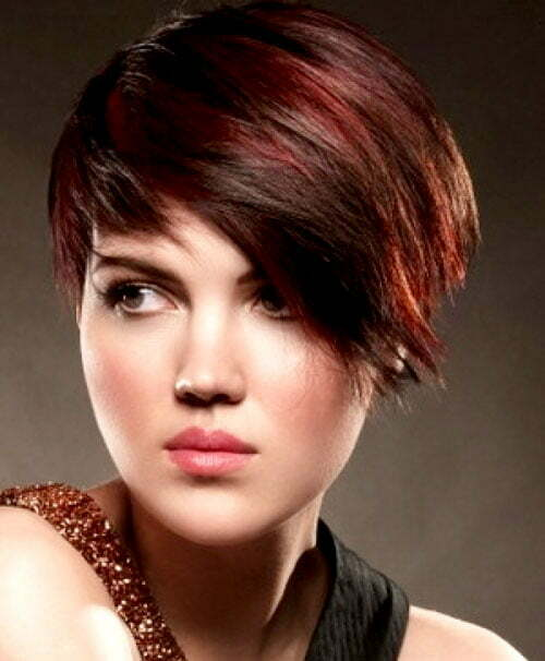 Pictures of short brown hair with red highlights