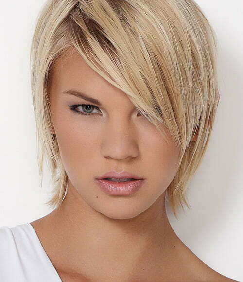 Short hairstyles with side bangs for women