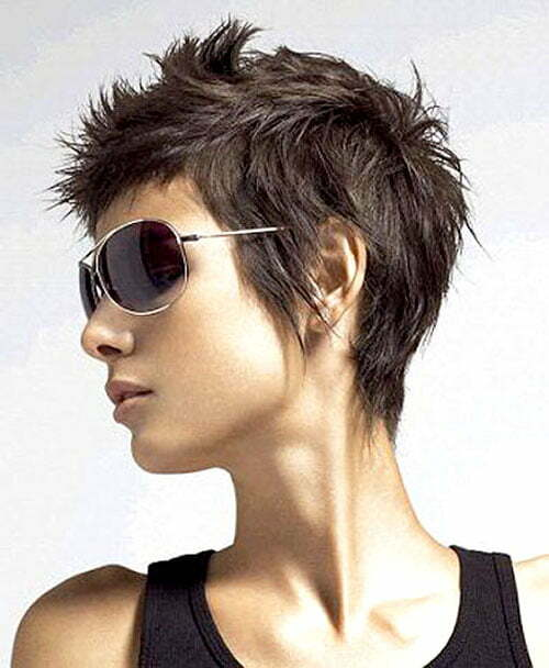 Short spiky pixie haircut
