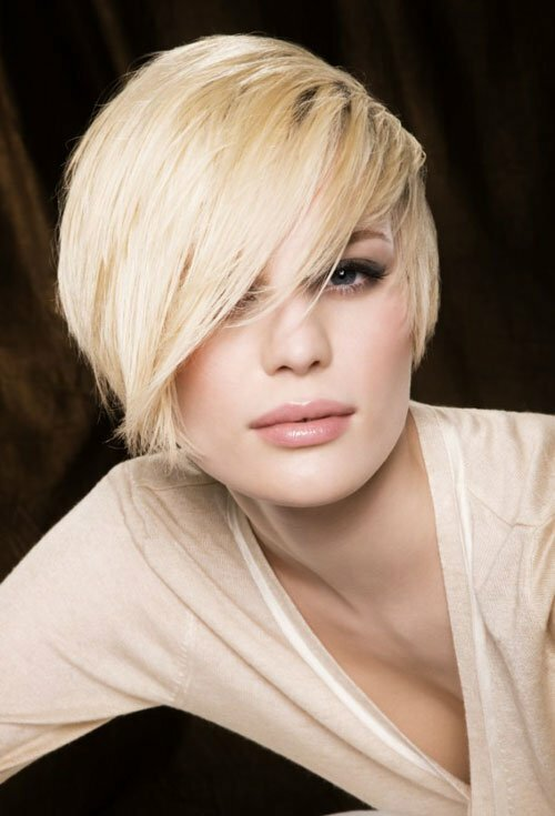Short hair with long bangs hairstyles