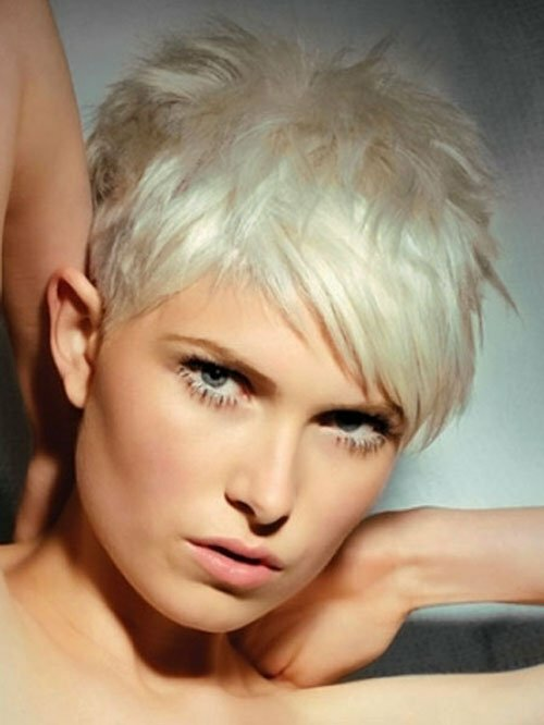 White Short Hair Pixie Cut
