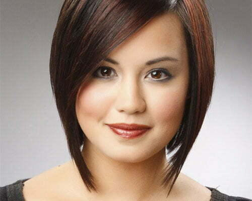 Short angled hairstyles for round faces