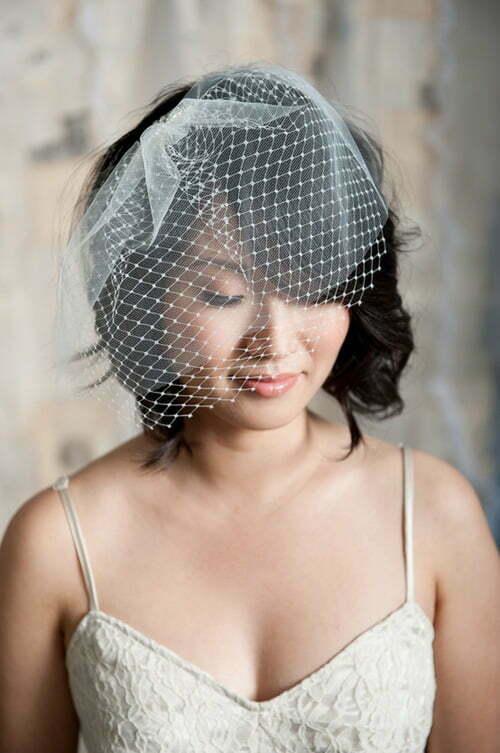 Wedding hairstyles birdcage veils short hair
