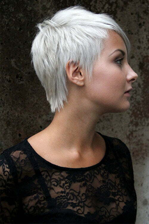 Short hairstyles for women with white hair