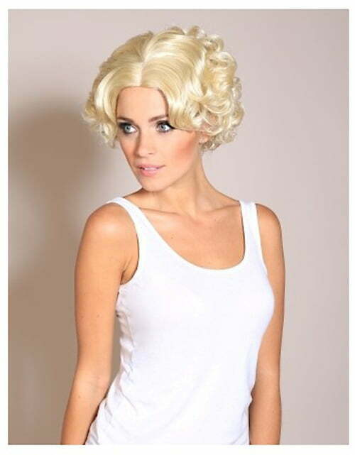 Short light blonde curly bob wig