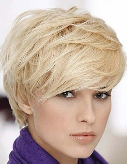Short blonde layered pixie haircut