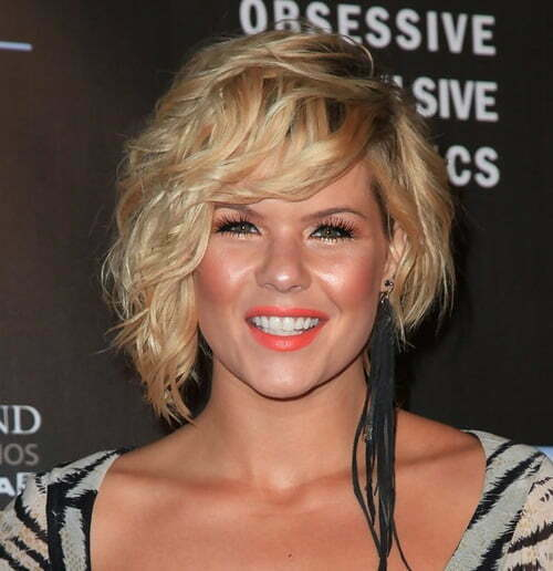 Short curly hairstyles with bangs and layers