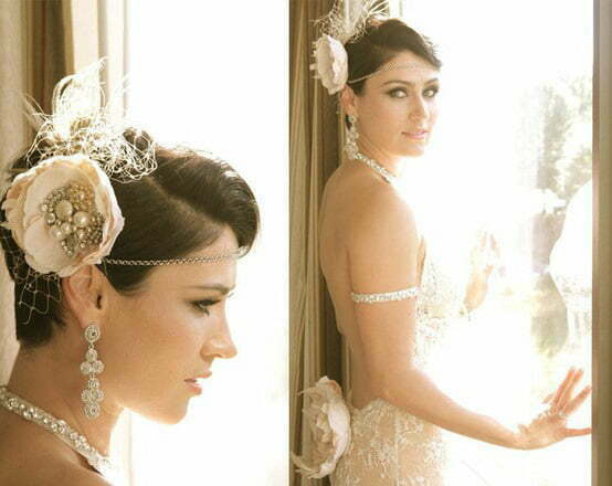 Wedding hairstyles flowers short hair