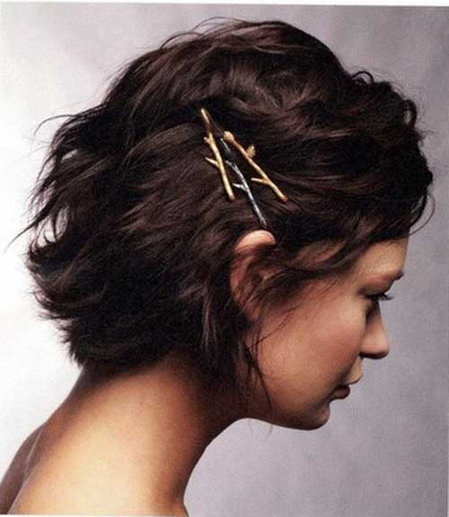 Bobby pins in short hair