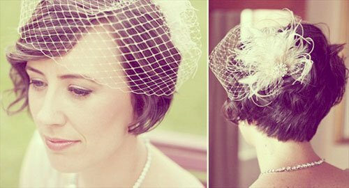 Short bridal hair with birdcage veil