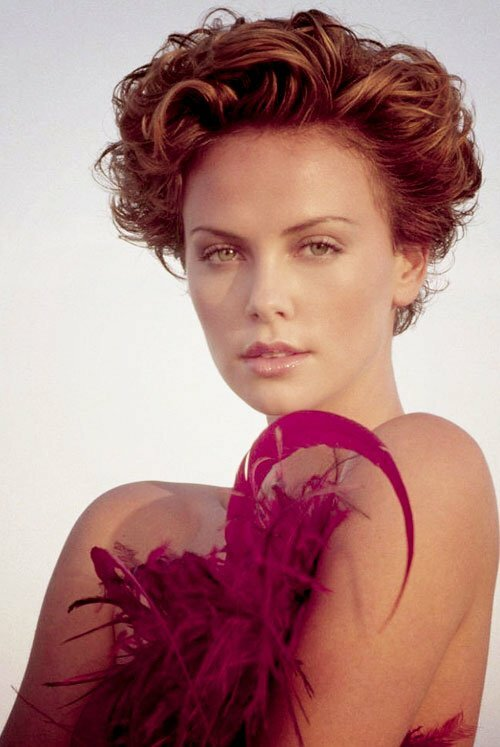 Charlize Theron short curly hair images
