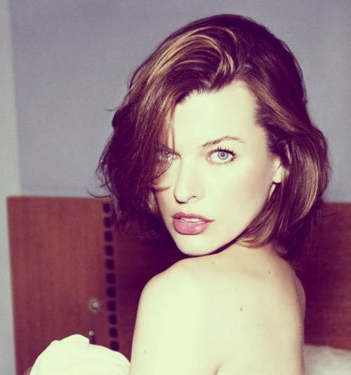 Milla Jovovich short wavy hair