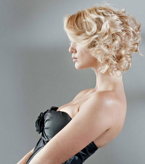 Short blonde curly wedding hair