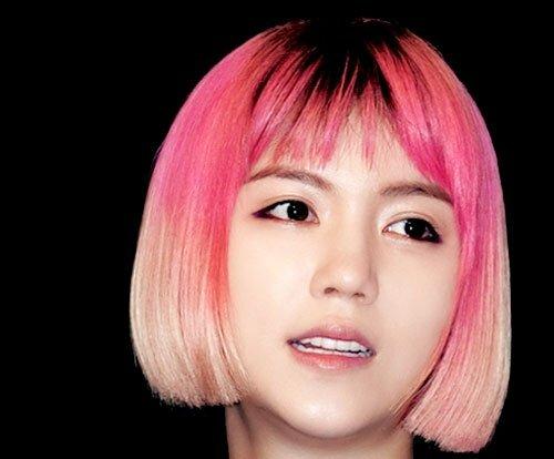 Short pink bob hair