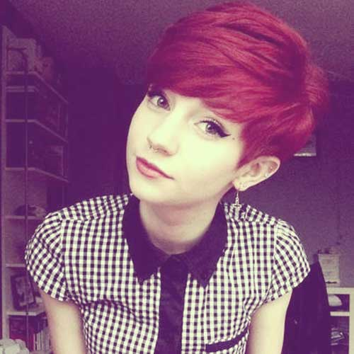 Short red pixie haircut