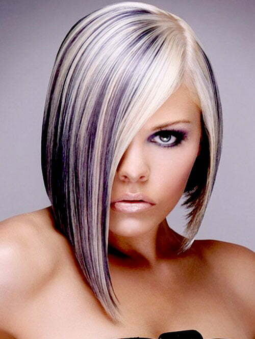 Short Blonde Hair with Purple