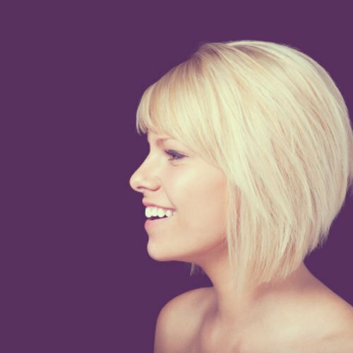 Short blonde bob with bangs