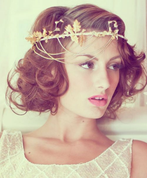 Short curly bridal hairstyles photos