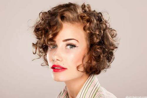 Short curly hair with bangs styles