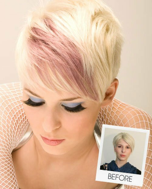 Short blonde hair pink highlights
