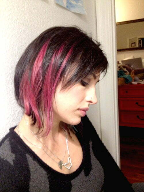 Pink and black hairstyles for short hair