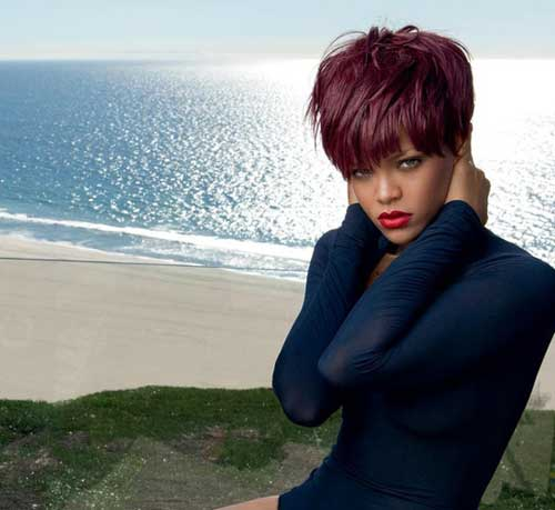 Rihanna Red Pixie