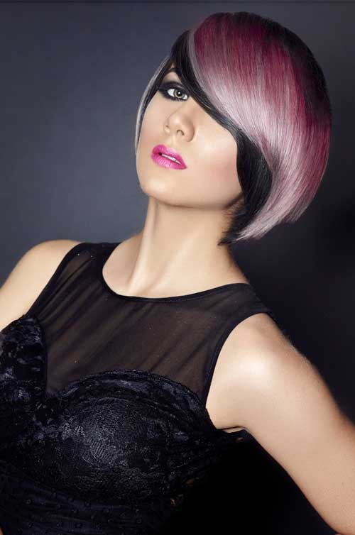 Black and pink hair color