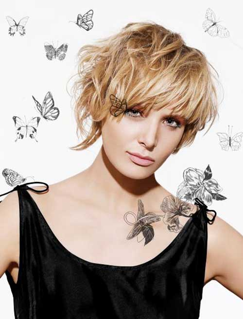 Short blonde hairstyles for round faces