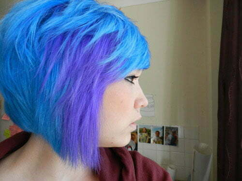 Blue purple short hairstyle