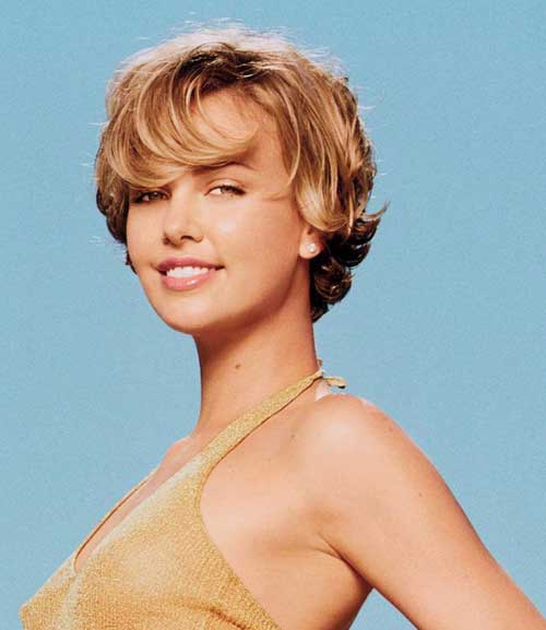 Charlize Theron short wavy hair