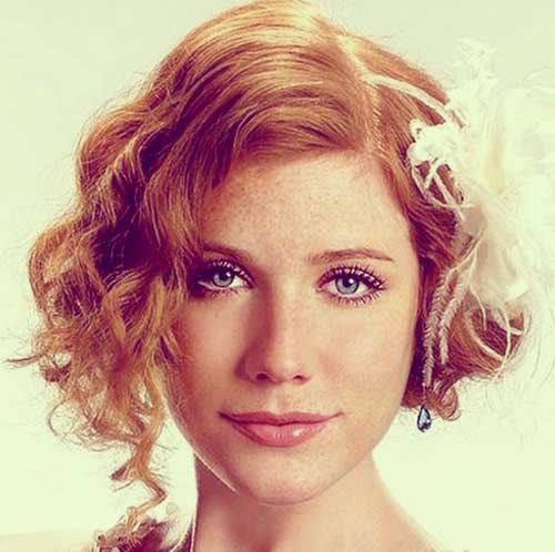 Short curly bob wedding hairstyles