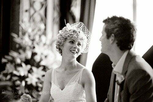Curly wedding hair with veil